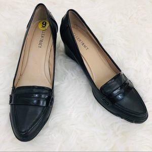 Ellen Tracy Black Patent Penny Loafer Wedge Heels
